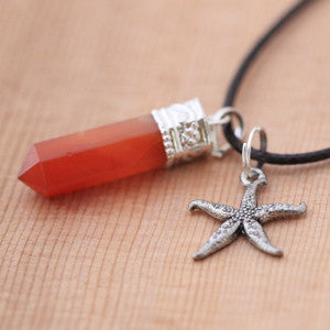 Natural Carnelian and Pewter Starfish Pendant & Necklace Set