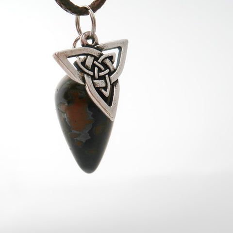 """Confident Presence"" Triquetra and Natural Tiger Eye Pendulum Necklace Set"