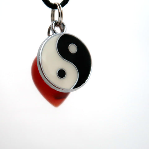Yin Yang Carnelian Balance and Flow Pendulum Necklace Set