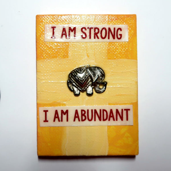 I am Strong affirmation - Original Mixed Media mini canvas Painting by Doe Zantamata