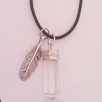 Natural Quartz Crystal Pendant and Silver Toned Angel Feather Necklace Set