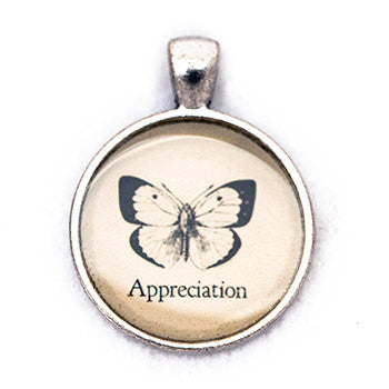Appreciation Pendant and Necklace - Silver Tone - Happiness in Your Life