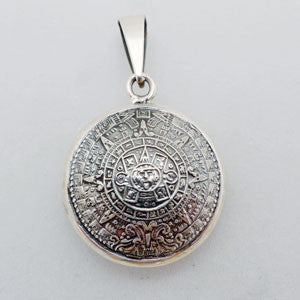 Sterling Silver Aztec Mayan Calendar Two sided