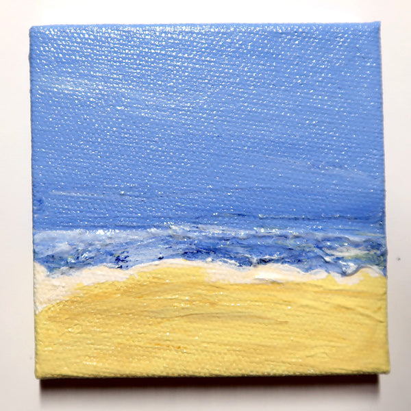 Little Beach 03 - Original Mixed Media mini canvas Painting by Doe Zantamata