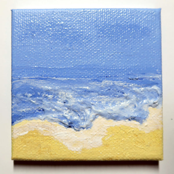 Little Beach 04 - Original Mixed Media mini canvas Painting by Doe Zantamata