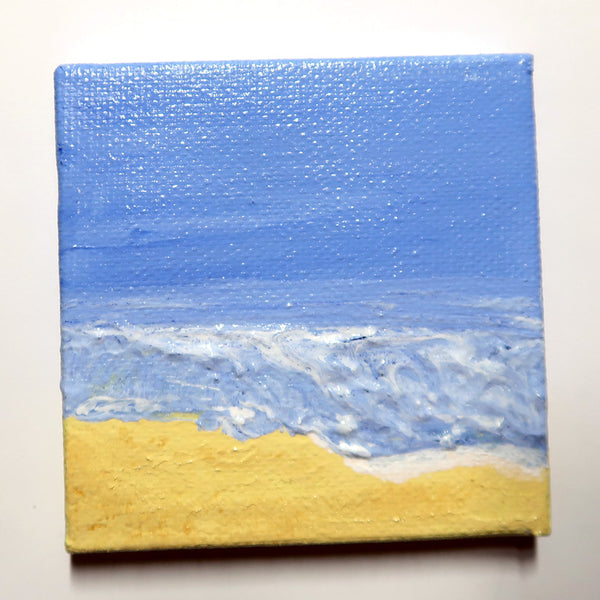 Little Beach 06 - Original Mixed Media mini canvas Painting by Doe Zantamata