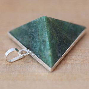 Dark Green Jade Pyramid Pendant