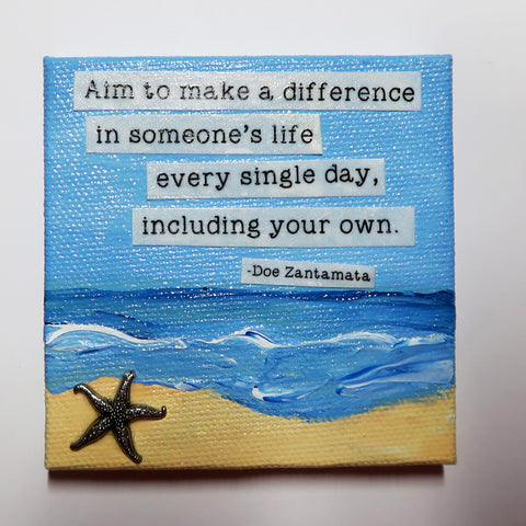 Aim to Make a Difference - Original Mixed Media mini canvas Painting by Doe Zantamata