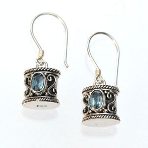 Blue Topaz and Sterling Silver Drum Earrings