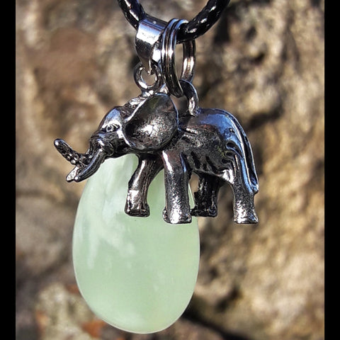"""Peaceful Abundance"" Elephant and Natural Serpentine Stone Necklace Set"