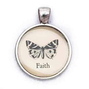 Faith Pendant and Necklace - Silver Tone - Happiness in Your Life