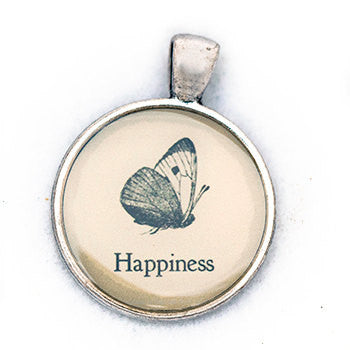 Happiness Pendant and Necklace - Silver Tone - Happiness in Your Life