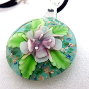 Pink Lotus Flower Wearable Art Handmade Glass Pendant and  Necklace