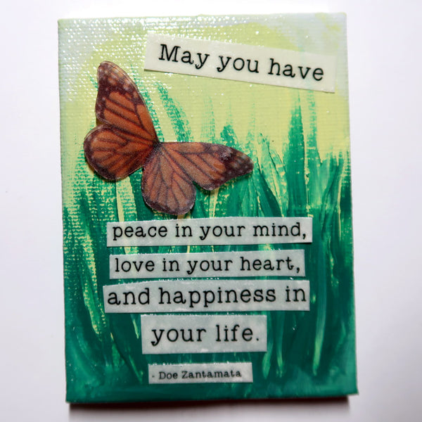 May you have... - Original Mixed Media mini canvas Painting by Doe Zantamata