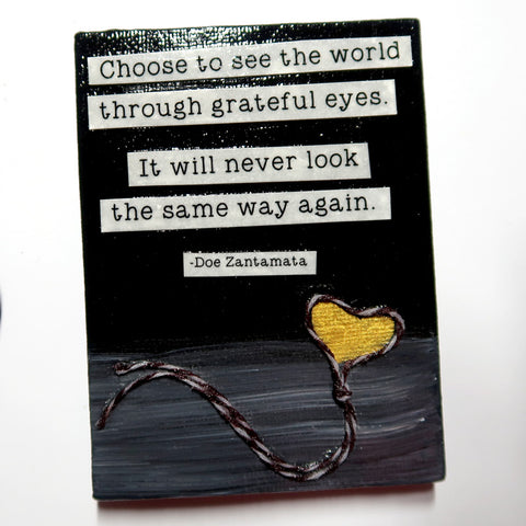 Choose to see... - Original Mixed Media mini canvas Painting by Doe Zantamata