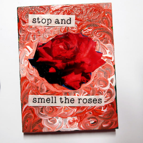 Stop and Smell the Roses - Original Mixed Media mini canvas Painting by Doe Zantamata
