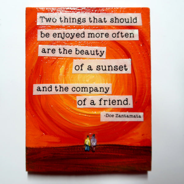 Two things... - Original Mixed Media mini canvas Painting by Doe Zantamata