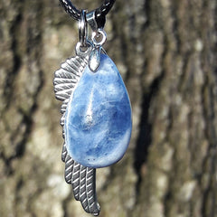 """Talk to Angels"" Stainless Steel Angel Wing and Natural Sodalite Stone Necklace Set"