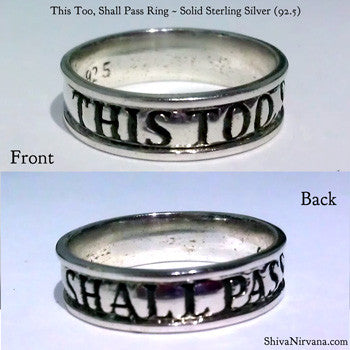 Solid Sterling Silver This Too Shall Pass Ring Shiva