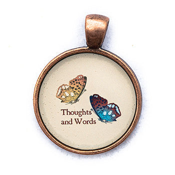 Thoughts and Words Pendant and Necklace - Copper Tone - Happiness in Your Life