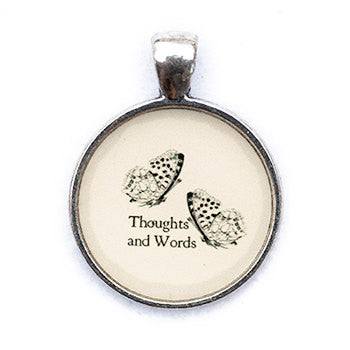 Thoughts and Words Pendant and Necklace - Silver Tone - Happiness in Your Life