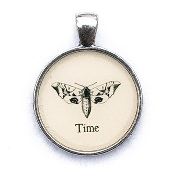 Time Pendant and Necklace - Silver Tone - Happiness in Your Life
