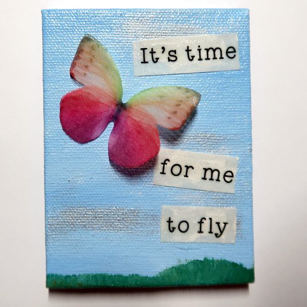 Time for me to fly - Original Mixed Media mini canvas Painting by Doe Zantamata