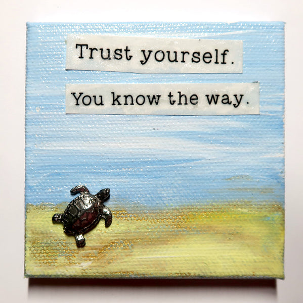 Trust yourself - Original Mixed Media mini canvas Painting by Doe Zantamata
