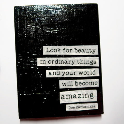 Beauty in the ordinary - Original Mixed Media mini canvas Painting by Doe Zantamata