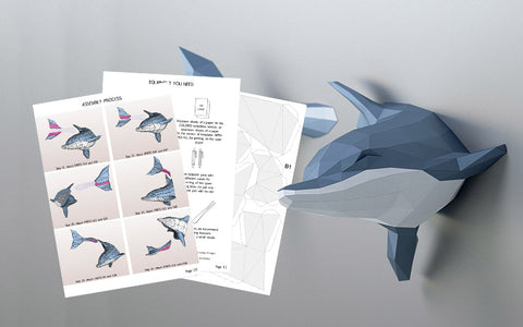 DIY Dolphin 3D Papercraft Template (PDF Kit) © GoPaperCraft