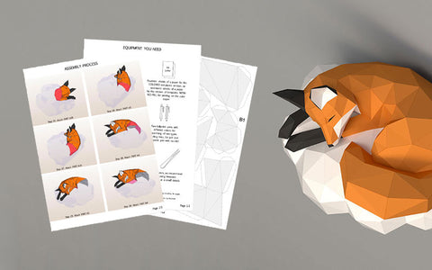 Cloud Fox 3D Papercraft Template PDF Download