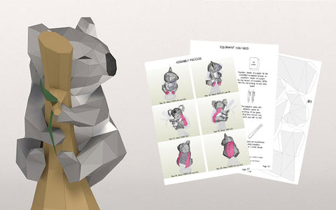 Koala 3D Papercraft Template Downloadable PDF