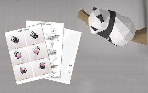 Panda 3D papercraft template pdf download
