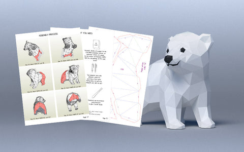 DIY Baby Polar Bear 3D Papercraft Template