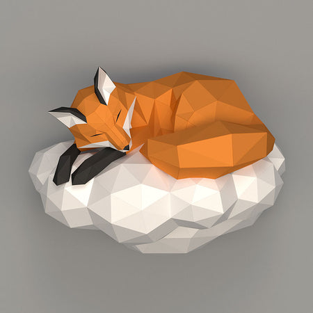 DIY Cloud Fox 3D Papercraft Template Instructions