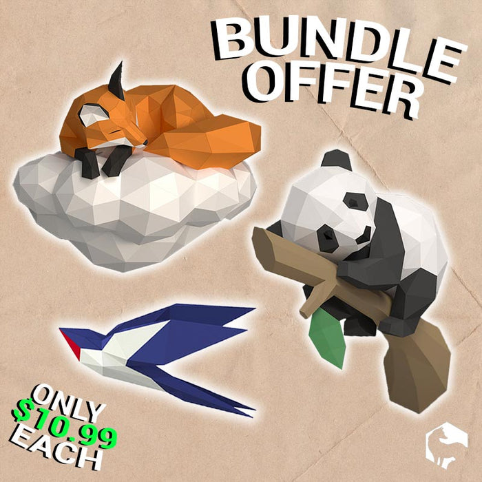 [BUNDLE] 3 x DIY 3D Papercraft Templates (PDF Kit) © GoPaperCraft