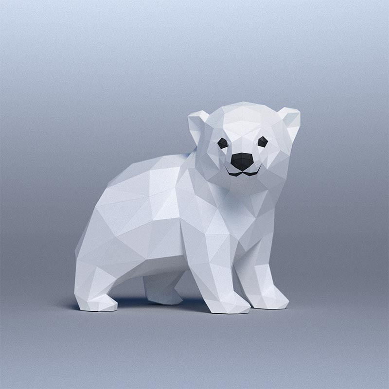 DIY Baby Polar Bear 3D Papercraft Template (Digital PDF) © GoPaperCraft