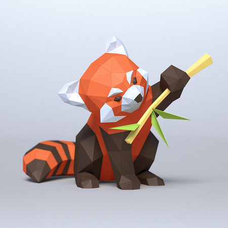 DIY Red Panda 3D Papercraft Template (PDF Kit) © GoPaperCraft