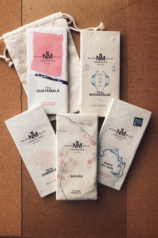 Spring Origins Dark Collection by MIller Chocolate. Explore unique tasting notes from chocolate using cacao from Peru, Ghana, Madagascar, Guatemala, and the Dominican Republic.