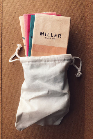Salty Sweet Milk Chocolate Collection by Miller Chocolate as seen in Real Simple Magazine Hostess Gift Guide. American made bean to bar chocolate.