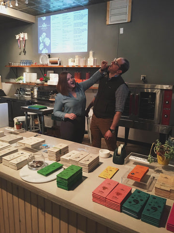 Nathan and Chelsea Russo Miller of Nathan Miller Chocolate in Chambersburg, Pennsylvania Sampling some bars, come by to say hello!
