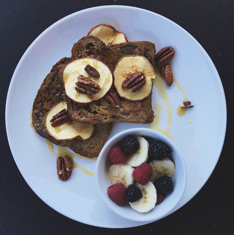 Multigrain cinnamon raisin french toast with organic berries, nuts, Pennsylvania Maple Syrup, + dried apple.