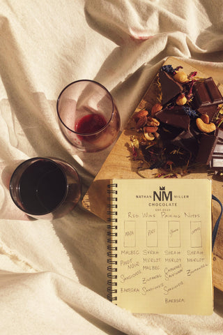 Dark Chocolate and Red Wine Pairing Notes from Nathan Miller Chocolate. Madagascar 73.5%, Ghana 70%, Peru 72%, and Dark Coffee.