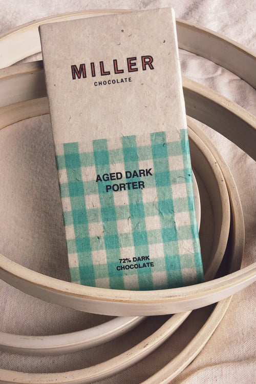 Aged Porter Dark Chocolate by Miller Chocolate. Cacao nibs infused with porter beer during the bean to bar process. Image and label design by Chelsea Russo.