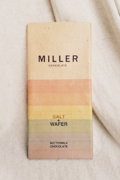 Salt and Wafer Buttermilk Chocolate by Miller Chocolate. Salty sweet flavor with a milk chocolate base and wafer crunch. This bar is an easy gift for children or adults.