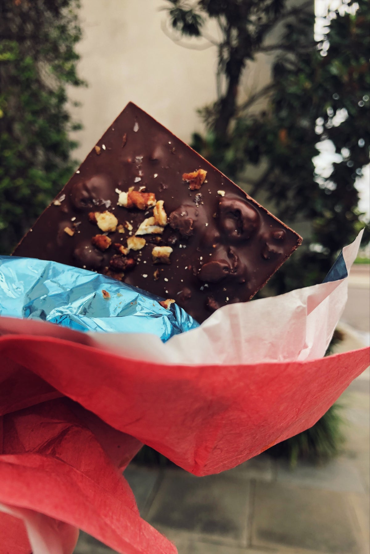 Southern Bar with delicious honey pecans and blackberries folded into a dark peach chocolate with notes of bourbon.