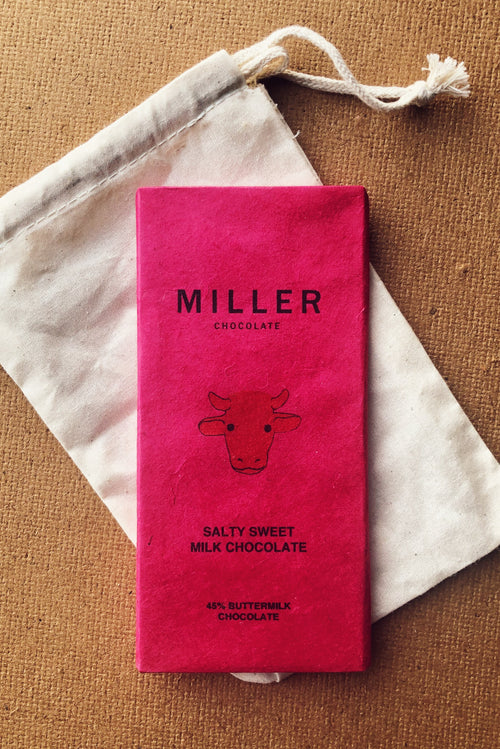 45% buttermilk chocolate is a salty sweet bean to bar variety by Miller Chocolate.