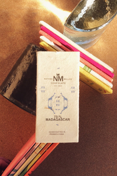 Madagascar 73.5% Dark Chocolate made bean to bar by Nathan Miller Chocolate this dark pairs great with a dry oaky red wine