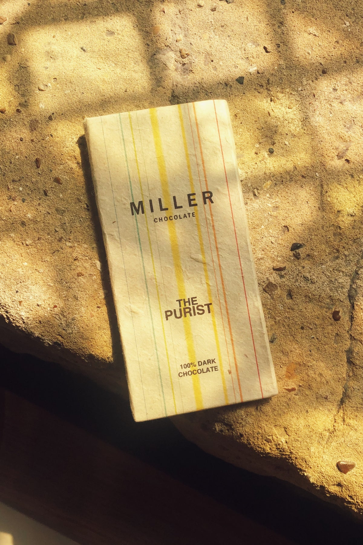 purist 100% single ingredient artisan dark chocolate by Miller Chocolate. Enjoy the dark complex flavor with no sugar added.