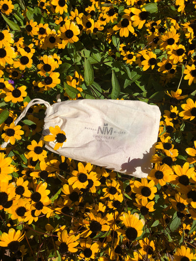 Cotton Gift Sack shipped with all solo bar orders from Nathan Miller Chocolate. Gift with us.